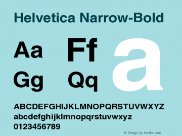 Helvetica Narrow-Bold Version 001.007 Font Sample