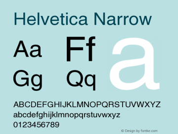 Helvetica Narrow Version 001.006 Font Sample