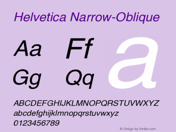Helvetica Narrow-Oblique Version 001.006 Font Sample
