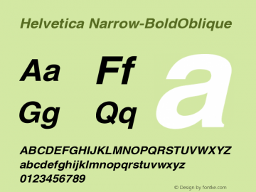 Helvetica Narrow-BoldOblique Version 001.007 Font Sample