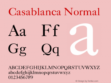 Casablanca Normal Version 001.003 Font Sample