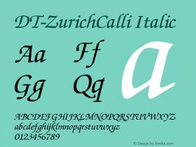 DT-ZurichCalli Italic Unknown Font Sample
