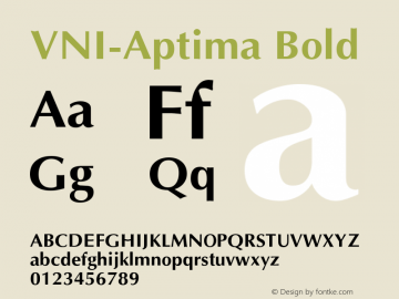 VNI-Aptima Bold 1.0 Tue Jan 18 11:31:42 1994 Font Sample