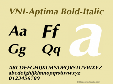 VNI-Aptima Bold-Italic 1.0 Tue Jan 18 11:32:38 1994 Font Sample
