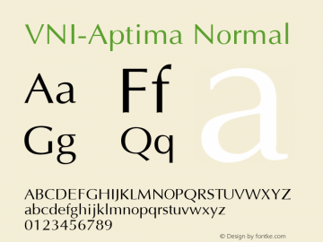 VNI-Aptima Normal 1.0 Tue Jan 18 11:33:59 1994 Font Sample