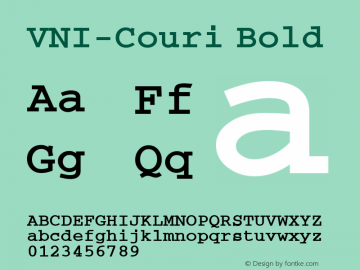 VNI-Couri Bold 1.0 Tue Jan 18 17:38:22 1994 Font Sample
