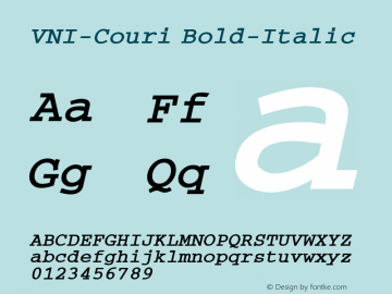 VNI-Couri Bold-Italic 1.0 Tue Jan 18 17:39:05 1994 Font Sample