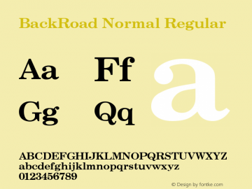 BackRoad Normal Regular Unknown Font Sample