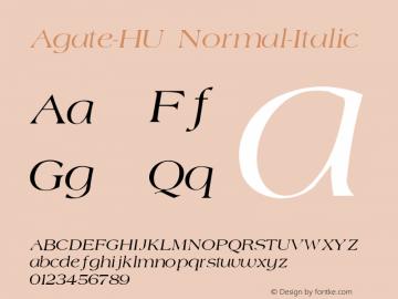 Agate-HU Normal-Italic 1.000 Font Sample