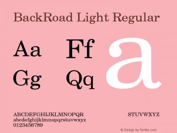 BackRoad Light Regular Unknown Font Sample