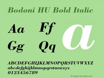 Bodoni HU Bold Italic 1.000 Font Sample