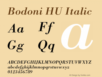 Bodoni HU Italic 1.000 Font Sample