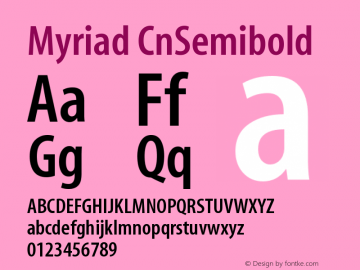Myriad CnSemibold Version 001.000 Font Sample