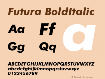 Futura BoldItalic Version 003.001 Font Sample