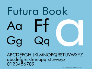 Futura Book Version 003.001 Font Sample