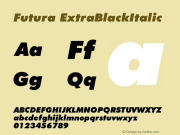 Futura ExtraBlackItalic Version 003.001 Font Sample