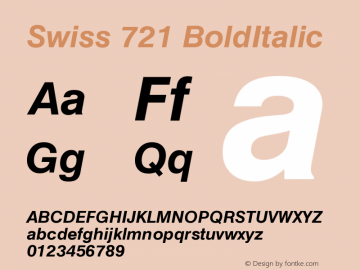 Swiss 721 BoldItalic Version 003.001 Font Sample