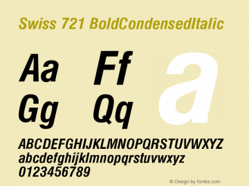 Swiss 721 BoldCondensedItalic Version 003.001 Font Sample