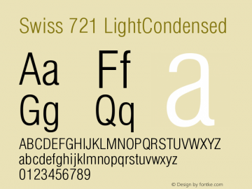 Swiss 721 LightCondensed Version 003.001 Font Sample