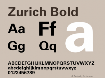 Zurich Bold Version 003.001图片样张