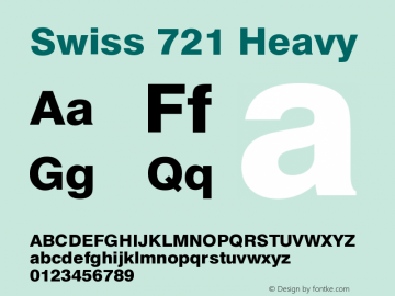 Swiss 721 Heavy Version 003.001 Font Sample