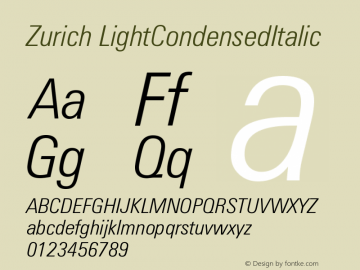 Zurich LightCondensedItalic Version 003.001图片样张