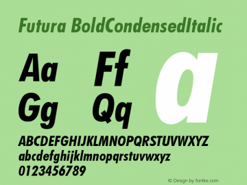 Futura BoldCondensedItalic Version 003.001 Font Sample