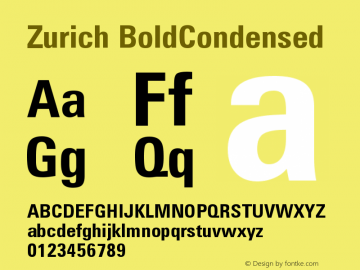 Zurich BoldCondensed Version 003.001图片样张