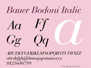 Bauer Bodoni Italic Version 003.001 Font Sample