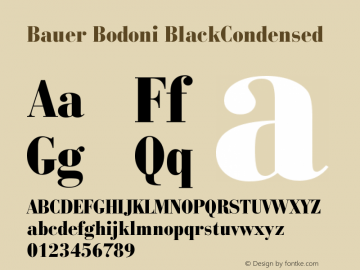 Bauer Bodoni BlackCondensed Version 003.001 Font Sample