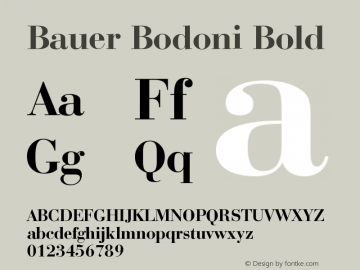 Bauer Bodoni Bold Version 003.001 Font Sample