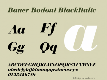 Bauer Bodoni BlackItalic Version 003.001 Font Sample