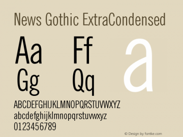 News Gothic ExtraCondensed Version 003.001图片样张