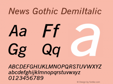 News Gothic DemiItalic Version 003.001图片样张
