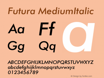 Futura MediumItalic Version 003.001 Font Sample