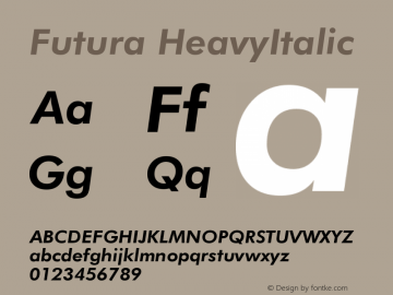 Futura HeavyItalic Version 003.001 Font Sample