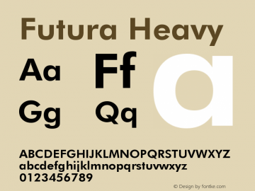Futura Heavy Version 003.001 Font Sample