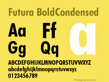 Futura BoldCondensed Version 003.001 Font Sample