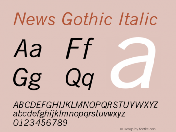 News Gothic Italic Version 003.001图片样张