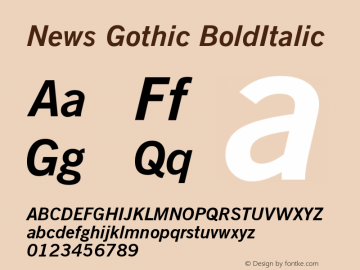 News Gothic BoldItalic Version 003.001图片样张