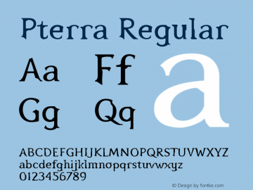 Pterra Regular 001.000 Font Sample