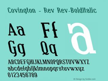 Covington - Rev Rev-BoldItalic Version 001.000 Font Sample