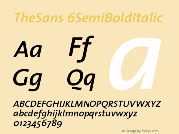 TheSans 6SemiBoldItalic Version 1.0 Font Sample