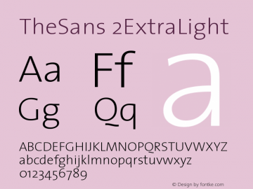 TheSans 2ExtraLight Version 1.0 Font Sample