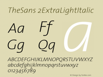 TheSans 2ExtraLightItalic Version 1.0 Font Sample