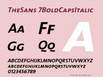 TheSans 7BoldCapsItalic Version 1.0 Font Sample