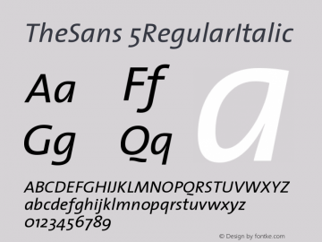 TheSans 5RegularItalic Version 1.0 Font Sample