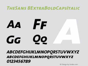 TheSans 8ExtraBoldCapsItalic Version 1.0 Font Sample