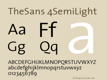 TheSans 4SemiLight Version 1.0 Font Sample