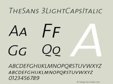 TheSans 3LightCapsItalic Version 1.0 Font Sample
